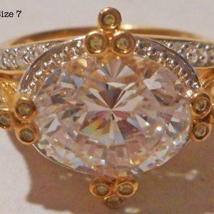 Oval CZ Vermeil Ring w/Yellow & Clear CZ Accents!